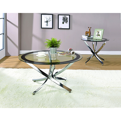 Chrome and Transparent End Table with Tempered Glass Top