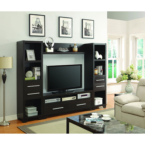 Cappuccino 2-Drawer TV Console with Three Storage Compartment