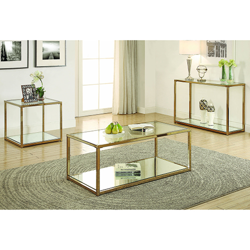Chocolate Chrome End Table with Mirror Shelf