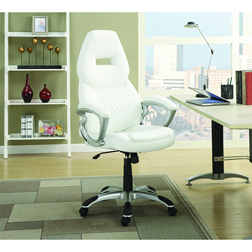 White and Silver Adjustable Height Office Chair