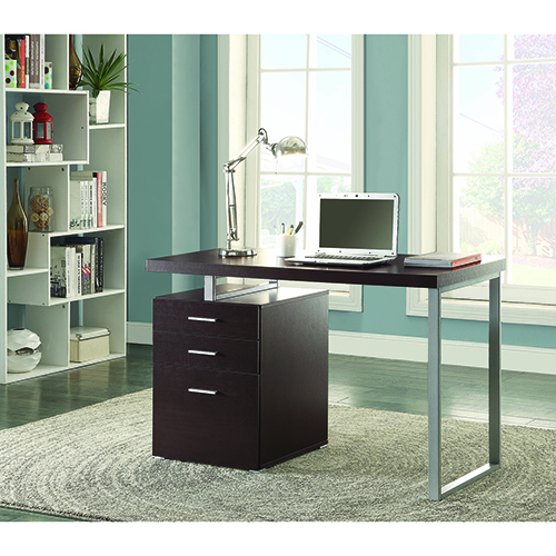 Cappuccino Office Desk with File Drawer and Reversible Set-Up
