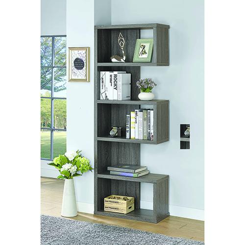 Weathered Grey Five-Shelf Semi-Backless Bookcase