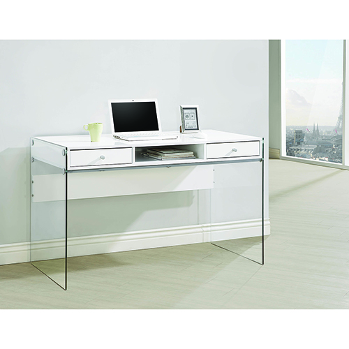 White and Transparent Writing Desk with Glass Sides Glossy