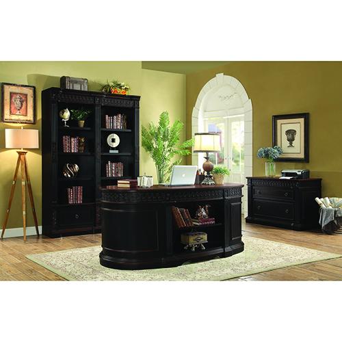 Black and Chesnut Oval Double Pedestal Executive Desk