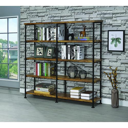 Antique Nutmeg Four-Shelf Open Bookcase