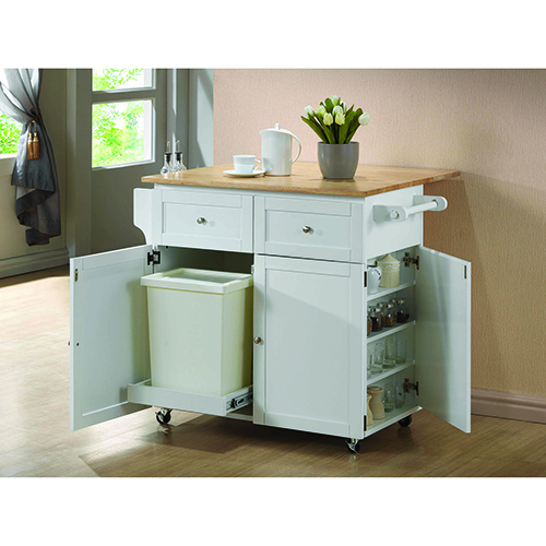 Natural Brown and White Trash Compartment and Spice Rack Kitchen Cart with Leaf