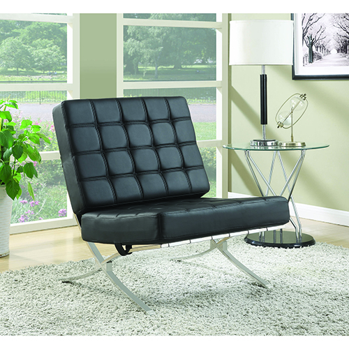 Black Armless Waffle Accent Chair