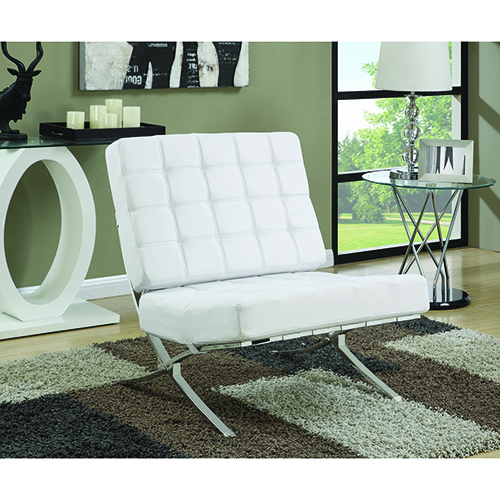 White Armless Waffle Accent Chair