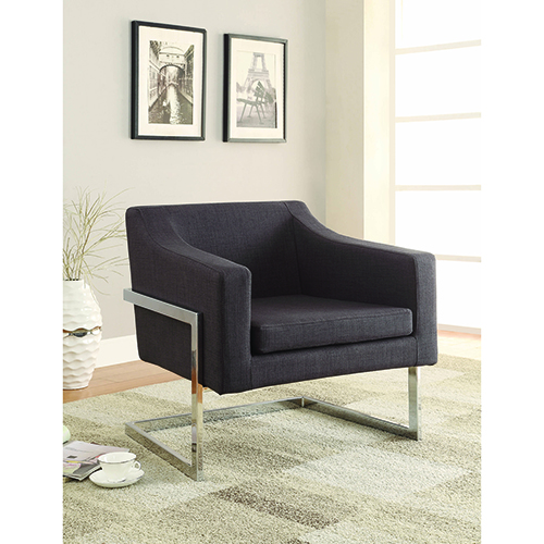 Chrome and Grey Accent Chair with Exposed Frame