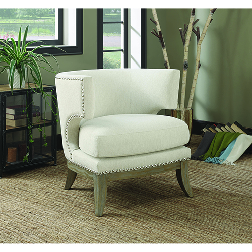 White and Weathered Grey Accent Chair with Barrel Back