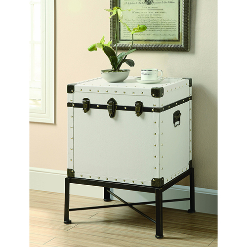 White Trunk-Style Accent Cabinet
