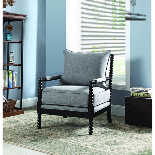 Grey and Cappuccino Accent Chair with Beaded Frame