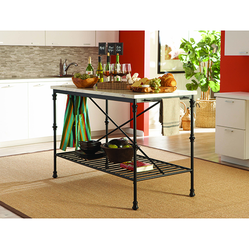 Black and White Kitchen Cart with Towel Bar