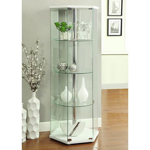 White and Transparent Four-Shelf Hexagon Shaped Curio Cabinet