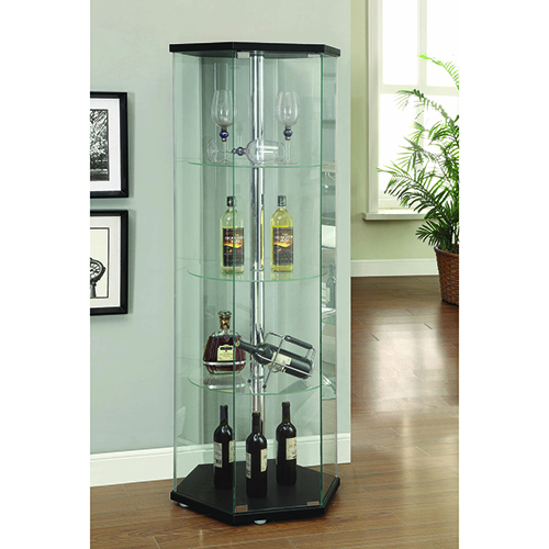 Black and Transparent Accents Hexagon Shaped Curio Cabinet