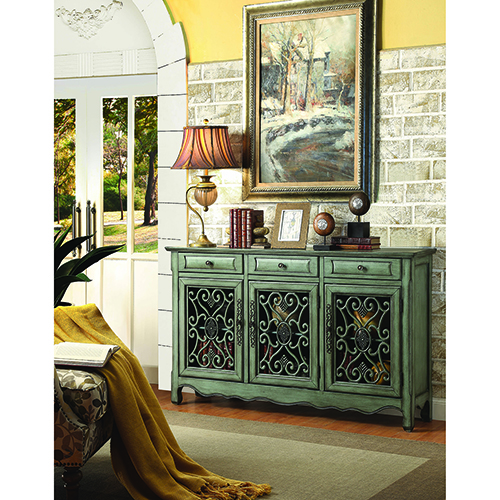 Antique Green Three-Door Accent Cabinet