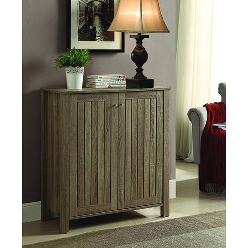 Weathered Grey Four-Shelf Shoe Cabinet