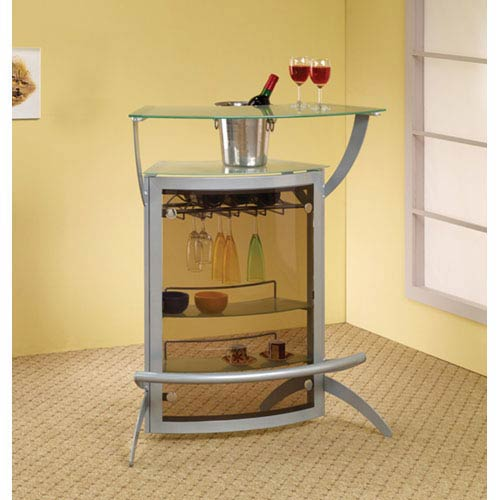 Contemporary Silver Metal Bar Unit with Glass Top