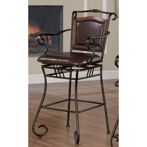 Miraculous Brown 29 Inch Metal Bar Stool With Upholstered Seat Dailytribune Chair Design For Home Dailytribuneorg