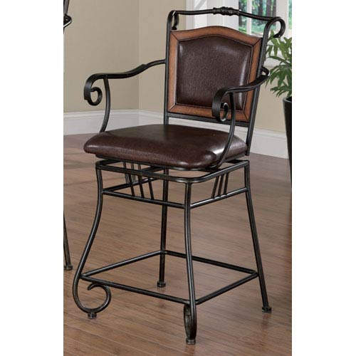 Coaster Furniture Brown 24 Inch Metal Bar Stool With Upholstered
