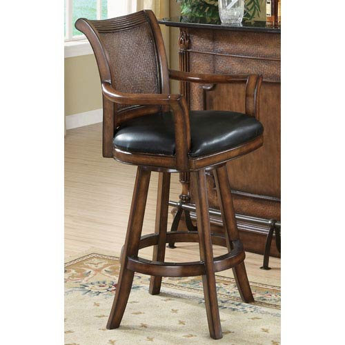 Coaster Furniture Clarendon Traditional Bar Stool with Leather Seat