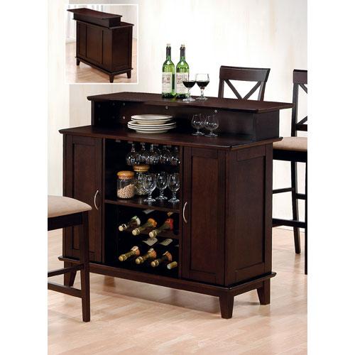 Cappuccino 2-Door Bar Unit with Wine and Stemware Storage