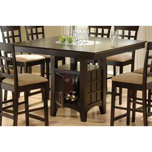 Cappuccino Counter Height Dining Table with Storage Pedestal Base