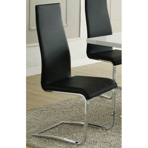 Coaster Furniture Black Faux Leather Dining Chair with Chrome Legs, Set of 4