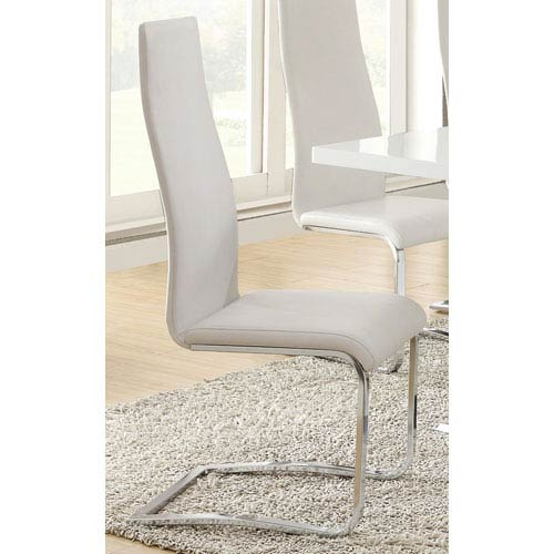 Peachy White Faux Leather Dining Chair With Chrome Legs Set Of 4 Ibusinesslaw Wood Chair Design Ideas Ibusinesslaworg