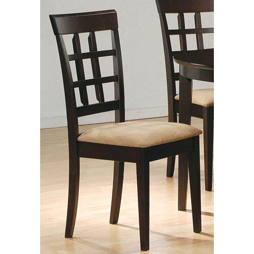 Coaster Furniture Cappuccino Wheat Back Side Chair with Fabric Seat, Set of 2