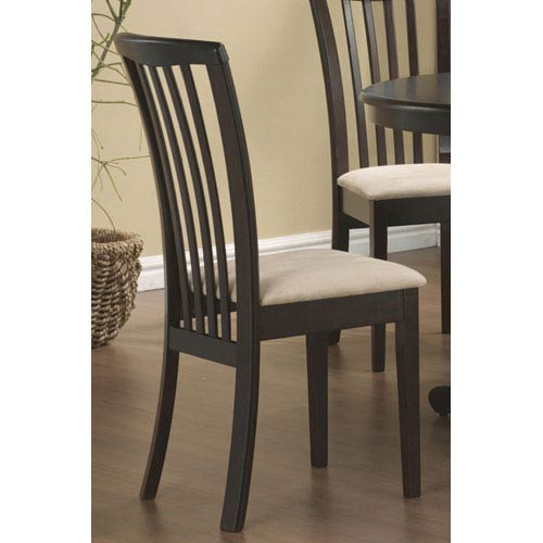 Coaster Furniture Brannan Capuccino Slat Back Side Chair with Beige Upholstered Seat, Set of 2