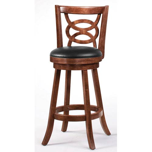 Cappuccino 29-Inch Swivel Bar Stool with Upholstered Seat, Set of 2