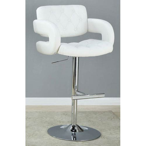 Coaster Furniture White 29-Inch Contemporary Adjustable Height Bar Stool