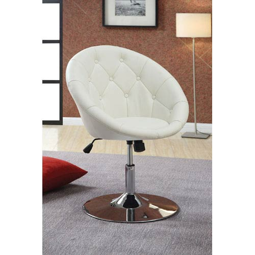 Coaster Furniture Contemporary Round Tufted White Swivel Chair
