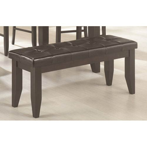 Page Dark Cappuccino Dining Bench with Tufted Upholstered Seat