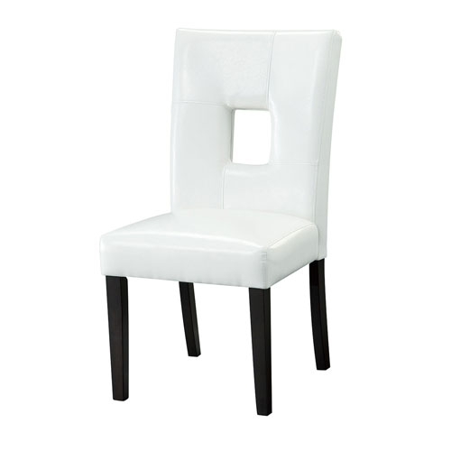 White Upholstered Dining Chairs, Set of 2