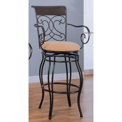 29-Inch Brown Metal Bar Stool with Upholstered Seat