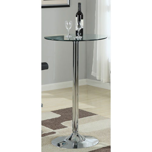 Coaster Furniture Glass Round Bar Table with Chrome Base