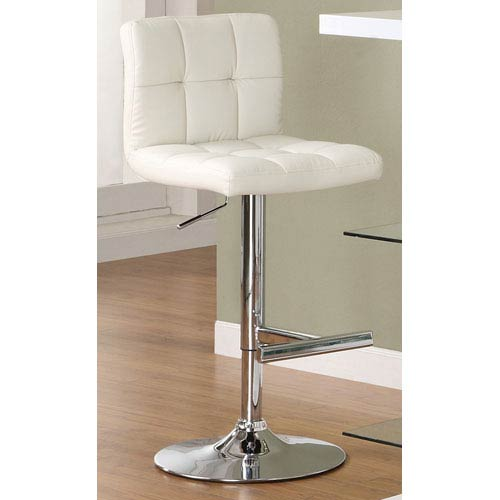 White Adjustable Stool with Padded Straight Line Back