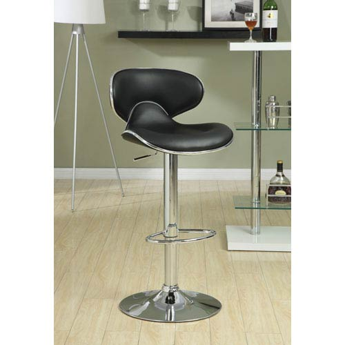 Black Adjustable Bar Stool with Backrest, Set of 2