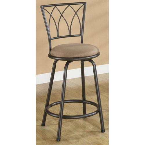 24-Inch Metal Bar Stool with Brown Upholstered Seat, Set of 2
