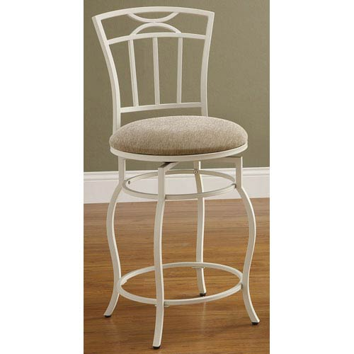 Coaster Furniture 24-Inch White Metal Bar Stool with Upholstered Seat