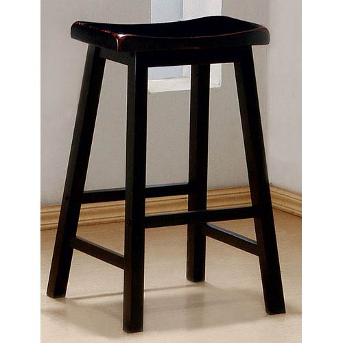 29-Inch Black Wooden Bar Stool, Set of 2