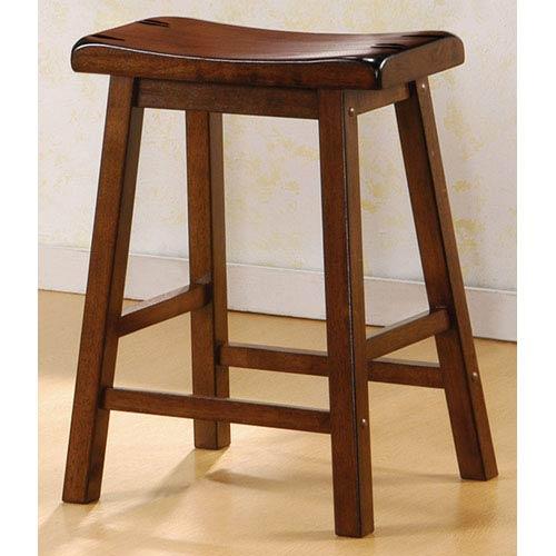 24-Inch Walnut Wooden Bar Stool, Set of 2