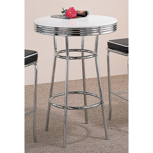 Coaster Furniture Cleveland Fifties Soda Fountain Chrome Bar Table With  White Top 20382300_1