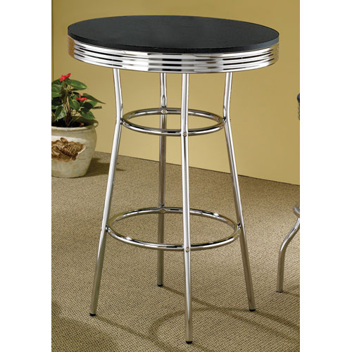 Coaster Furniture Cleveland Fifties Soda Fountain Chrome Bar Table With  Black Top