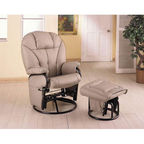 Coaster Furniture Bone Leatherette Recliner with Matching Ottoman