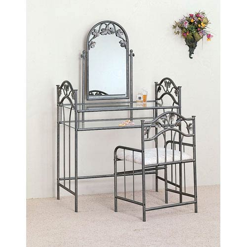 Coaster Furniture Silver Glass Top Metal Vanity with Stool