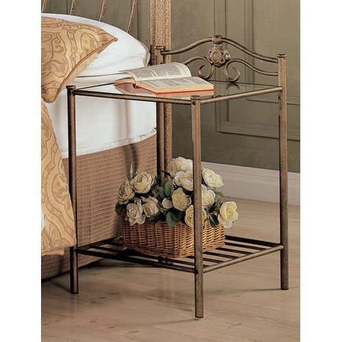 Singleton Transitional Iron Nightstand with Shelf