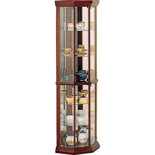 Coaster Furniture Cherry Solid Wood Gl Corner Curio Cabinet With Six Shelves